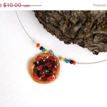 ON SALE Pizza Necklace Polymer Clay Charm