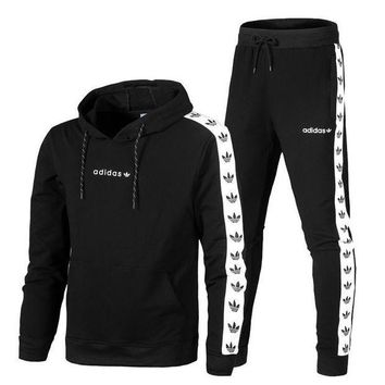 NOV9O2 Adidas Top Sweater Pullover Hoodie Pants Trousers Set Two-Piece Sportswear