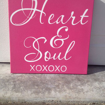 Heart & Soul XOXOXO 12x12 Wood Sign