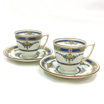 Pair Minton Princess Demitasse Cups & Saucers, Art Deco Design, Enamel Flower Swags, Deep Blue Border, Antique 1920s English China