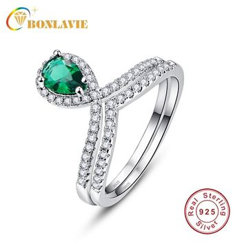 BONLAVIE 100% 925 Sterling Silver Stackable Ring Water Drop Green Crystal Finger Rings for Women Wedding Engagement Jewelry 2pc