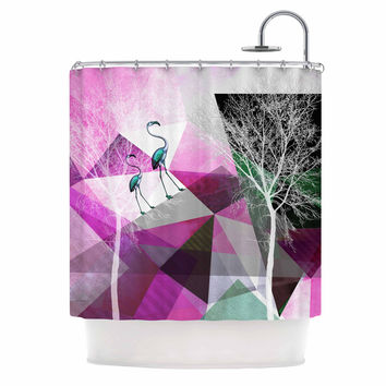 "Pia Schneider ""FLAMINGO P22"" Pink Geometric Shower Curtain"