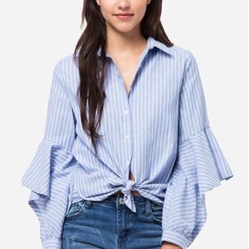 Women's Oxford Shirt with Ruffle Sleeves and Front Tie