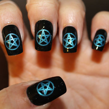 Free Shipping - 66 Blue PENTACLES Nail Art MEGAPACK (PNB) - Metallic Blue Pentagram Waterslide Decals - Not Stickers or Vinyl