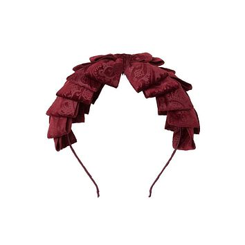 Project 6 Burgundy Paisley Suede Pleated Ribbon Headband