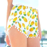 Pineapple Print Tulip Shorts with Poms Deco