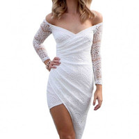 White Lace Long Sleeve Asymmetrical Wrap Maxi Dress
