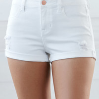Bullhead Denim Co. Taffy Ripped Mid Rise Super Stretch Denim Shorts at PacSun.com