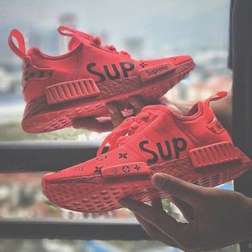 LV ADIDAS NMD RED x SUP Supreme x LV Louis Vuitton Fashion Trending Leisure Running Sports Shoes