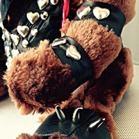 """Biker Chick Teddy Bear - One - of - a - Kind Collection """" TOXIFIED Bear"""" Genuine Leather Clad Premium Unique Gift"""