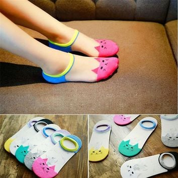 1 Pairs Fashion Women's Socks Funny Socks Cat Pattern Glass fiber Casual Ankle High Low Cut Invisible Cotton Socks popsocket