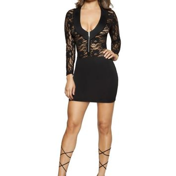 Roma RM-3342 Long Sleeved Lace Dress with Zipper Closure