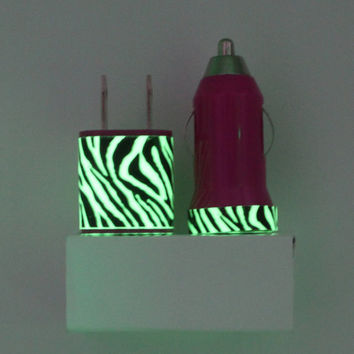Hot Pink Zebra Stripes Glow in the Dark iPhone Charger w/ portable charger & mobile car charger for USB Devices | iPhone, Android, Samsung