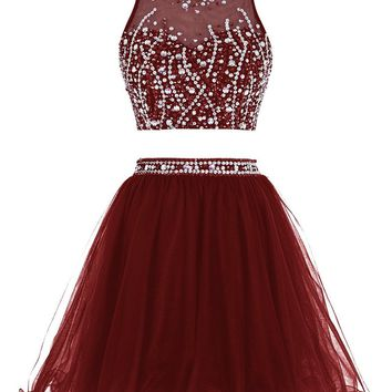 Burgundy Chiffon Two Pieces Homecoming Dresses