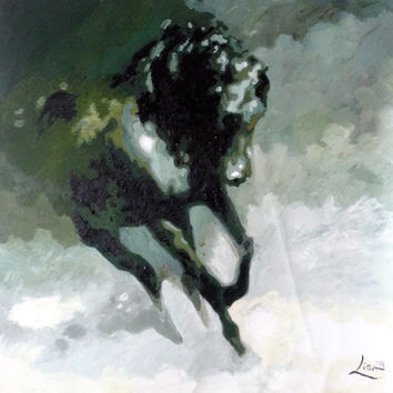 Original Oil Painting - 39 x 39 Wild Horse Running - Black Horse Painting - Huge Impasto Contemporary Wall Art - Huge Size