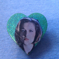 Green Wooden Heart Agent Scully (X Files) Pinback Button / Badge