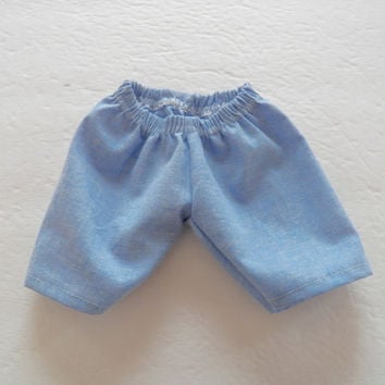 """Bitty Baby Doll Clothes Twin Boy, Girl, or Baby Doll 15"""" American Girl Blue Longer Length Shorts Spring Summer"""