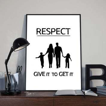 respect poster, wall art decor, room decor, Black and white art, printable quote, digital print, respect quote, home decor, nordic art