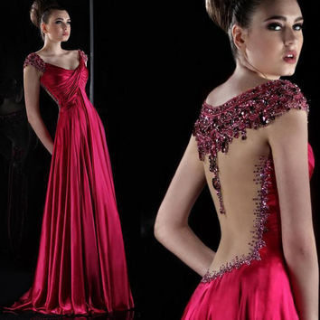 Luxury Crystal Dark Red Satin Long Prom Dresses 2017 Robe De Soiree Beading Cap Sleeve V-neck Long Prom Dress Evening Wear
