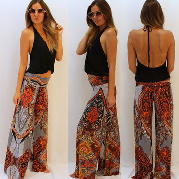 Stylish Vintage Print Pattern Pants [4919209348]