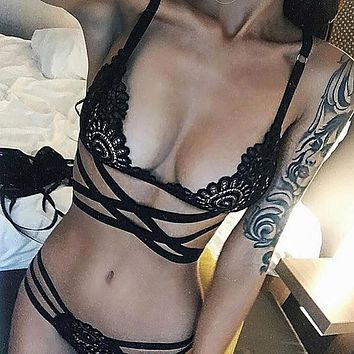 Women Sexy Intersect Strap Lace Briefs Underwear Nightwear Lingerie L