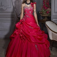 Fashion Ball Gown One-shoulder Drape Embroidery Layered Fuchsia Floor-length Prom Dress With Flower RD0191 Sale [dressnl3895] - $175.00 : dressnl.com, Prom Dresses Holland online shop