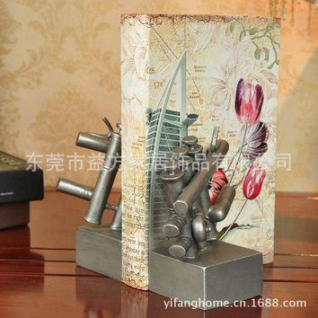European style champagne silver musical book by an author ornaments wedding gift ornaments study musical ornaments