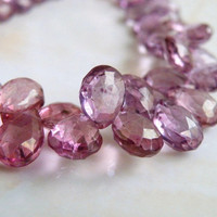 Pink Mystic Quartz Gemstone Faceted Pear Teardrop Briolette 10.5mm 1/2 Strand 23 beads