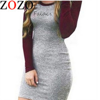 Falacs zozo New Autumn Winter Women Fashion Casual Sheath Dresses Full Sleeve Knee-Length O-Neck Dress Vestidos