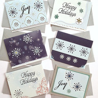 CIJ Christmas in July Sale  - Happy Holidays Snowflakes and Joy Handmade Winter Greeting Note Card Set - (6 Cards)
