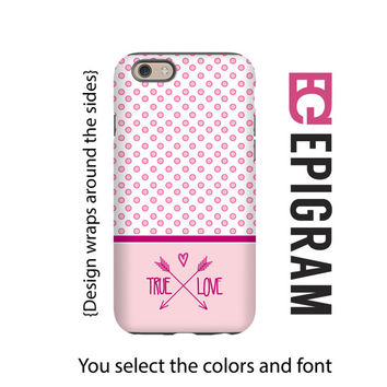 Valentine iPhone case, True Love pink iPhone case, Valentine gift for her, polka dot iPhone 4/4s/5/5s/5c/6/6s and 6/6s Plus case