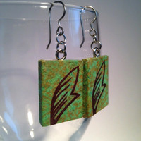 Green Leaf Hanji Paper Earrings Leaf Design Delicate Green Brown Dangle Earrings Hypoallergenic hooks Lightweight Ear rings