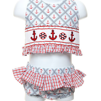 Three Sisters Baby Girl Anchor Smocked 2pc. Swimsuit