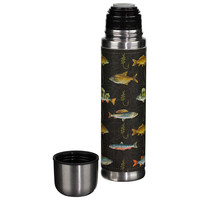Hook Line and Sinker Black Fish Flask
