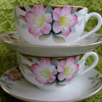 Circa 1918 Noritake Azalea Teacup and Saucers 2 sets available  Good to Very Good