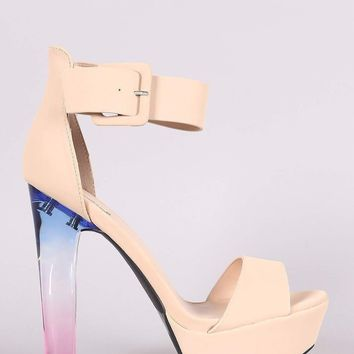 Qupid Nubuck Ankle Strap Platform Ombre Clear Heel