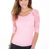 Solid Lace Raglan Long Sleeve