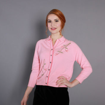 1960s Bubblegum Pink CARDIGAN / Vintage 60s Sweater with Sequined Flowers, m - l