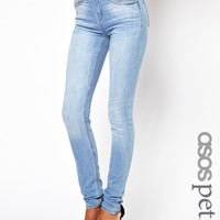 ASOS PETITE Ridley High Waist Ultra Skinny Jeans In Ice Blue Vintage W