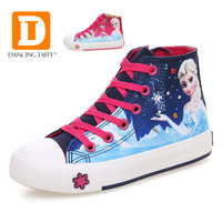 Princess Girls Shoes For Kids 2016 New Children Shoes Ice Snow Queen Fashion Elsa Anna Casual Denim Single Canvas Child Sneakers