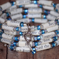 The Notebook Paper Bead Bracelet - Spiral Wrap Bracelet - Memory Wire - Upcycled - Teal