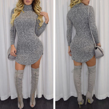 2016 Autumn Winter High-necked Long Sleeve Dress Female Mini Woolen Dresses Fashion Women Clothes 111