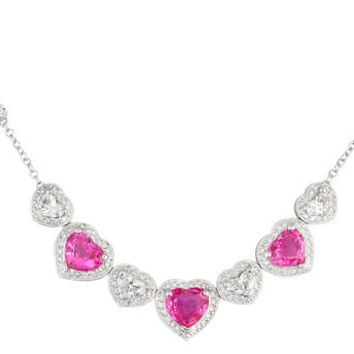 Ladies 18kt white gold diamond and pink sapphire heart pave necklace