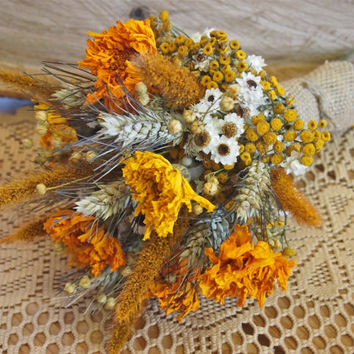 Boho GOLDEN SUMMER Bridesmaid Bouquet - Dried Flowers are Perfect for Rustic Weddings