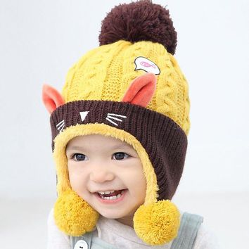 LMFONJ Cute Baby Winter Hat  Warm Infant Beanie Cap For Children Boys Girls Animal Cat Ear Kids Crochet Knitted Hat