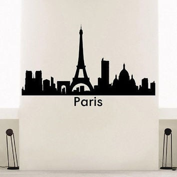 WALL DECAL VINYL STICKER PARIS SKYLINE CITY SILHOUETTE DECOR SB108