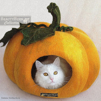 House cat Pumpkin Size XL - felt house for a large cat cave felted woolen cat-house cat - a cozy home for the cat - Pumpkin
