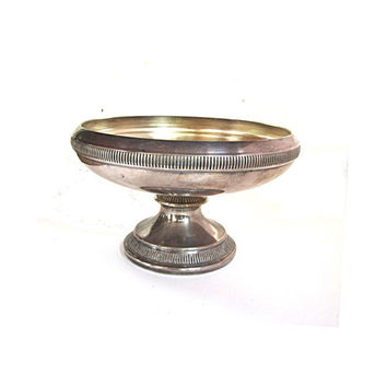 Vintage candy dish. Candy bowl. Trinket bowl. Pedestal bowl. Footed bowl. Pedestal dish. Silver plated copper candy bowl.