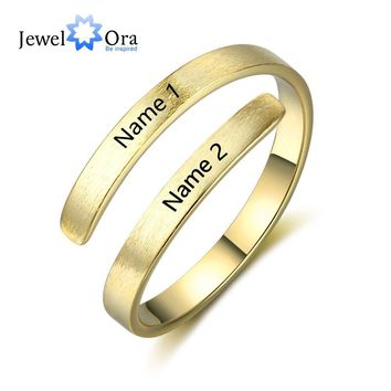 Personalized Ring Customize Engraved Names 3 Colors Available Adjustable Rings For Women Anniversary Jewelry (JewelOra RI103498)