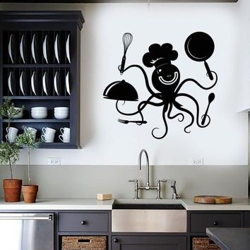 Wall Decal Positive Octopus Chef Kitchen Restaurant Vinyl Stickers Unique Gift (ig2916)